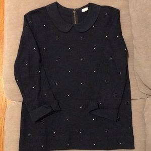 J.Crew Polka Dot Blue Collared 3/4 Long Sleeve